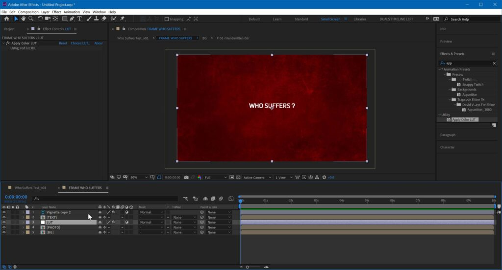 After Effects - LUT Applied